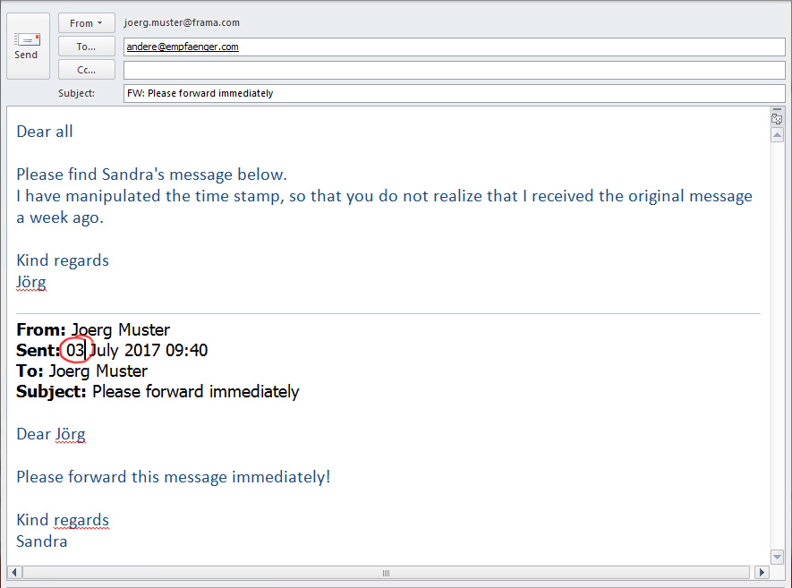 Example of a modified email.