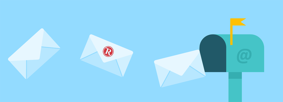 Envelopes with the RMail logo flying into a letterbox.