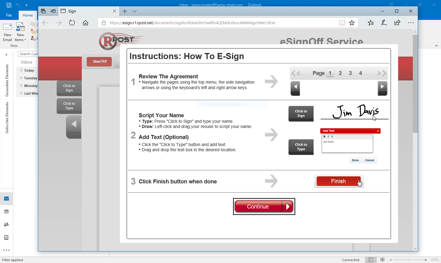 how to change electronic signature in outlook