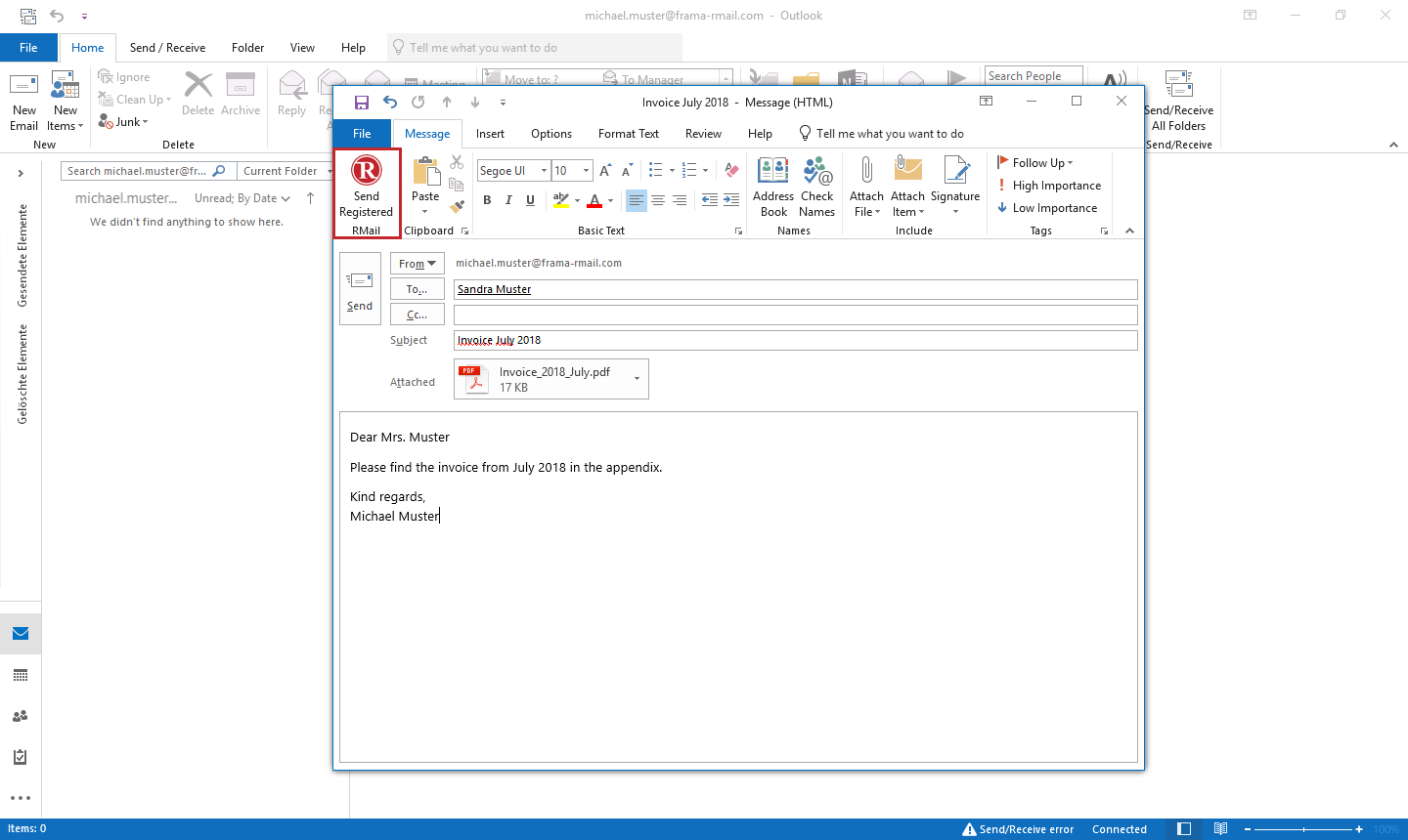 Prepare an email for sending with RMail