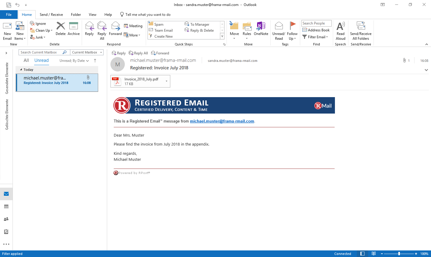 Recipient view of registered email