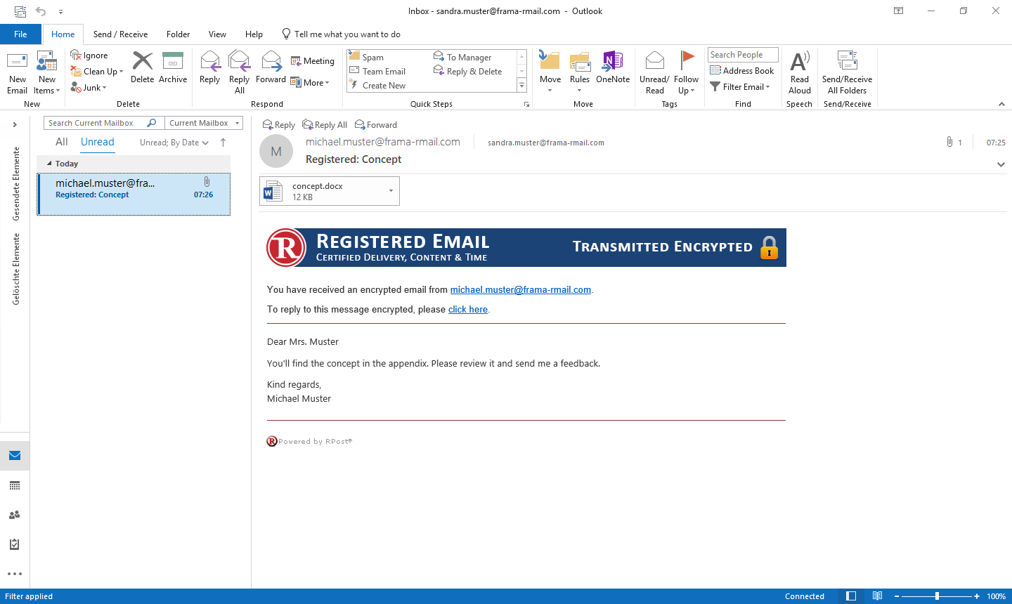 Recipient view of an automatically encrypted e-mail.