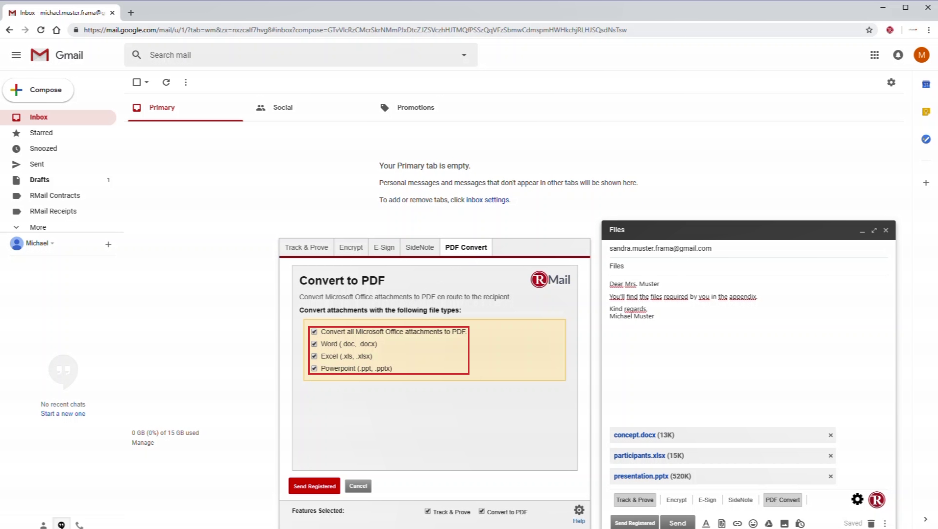 Screenshot of how to convert your email attachments to PDF using RMail. Works even if you use Gmail.