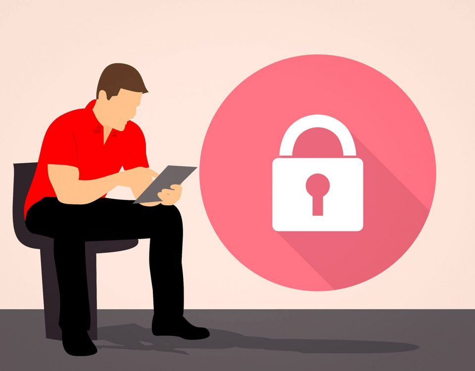 The graphic shows a man operating a tablet. To the right of him you can see a big lock. This graphic represents the use of an electronic signature.